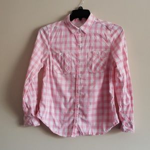 3/$25 Pink & White Plaid Shirt By Sonoma Size Med
